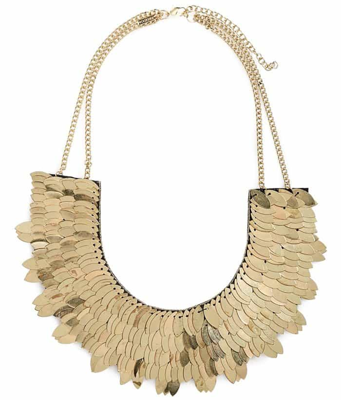 Topshop Metallic Leaf Necklace