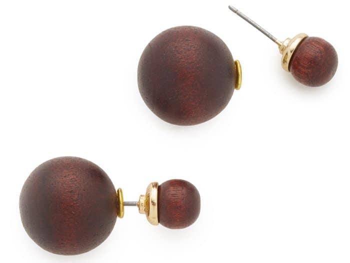 Kenneth Jay Lane Front Back Wood Post Earrings
