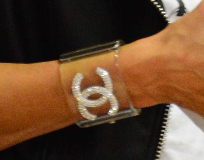 Paris Hilton's Chanel lucite cuff with crystal CC embellishments