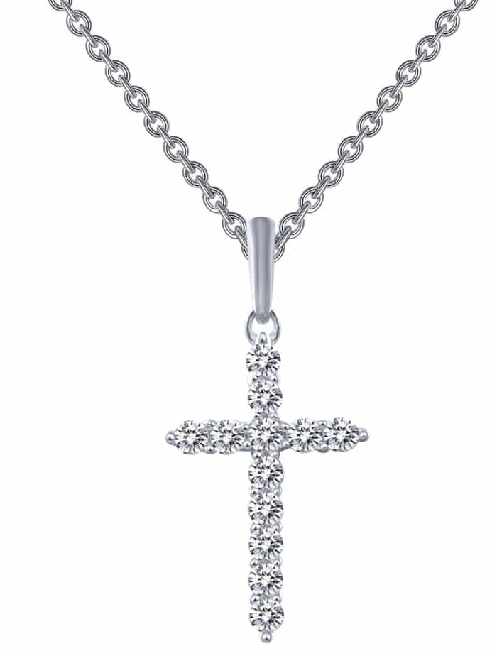 Prong-set simulated diamonds form the cross-shaped pendant of an elegant necklace made from sterling silver bonded with platinum