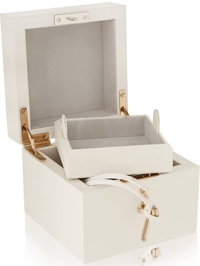 Smythson Panama Mini Textured Leather Jewelry Box