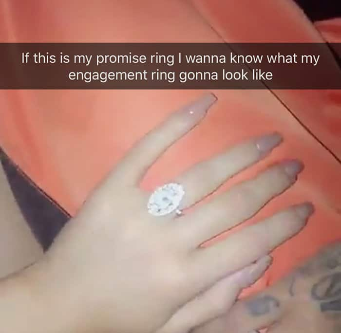Kylie Jenner showing off her promise ring
