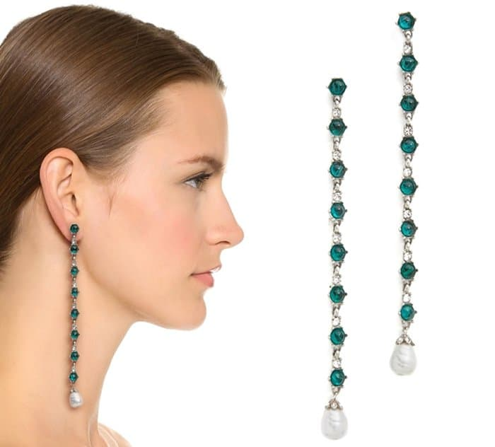 Ben-Amun Imitation Pearl Drop Duster Earrings