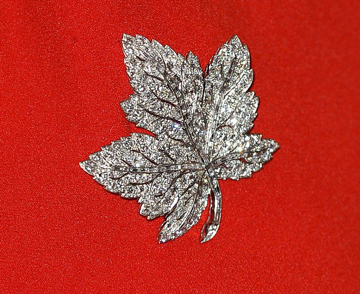 The maple leaf diamond brooch was a gift for the Queen Mother from her husband King George VI to commemorate their Canadian trip in 1939