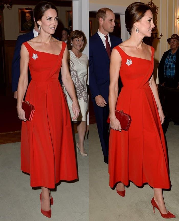 Kate Middleton turned headsin a classy Preen by Thornton Bregazzi dress