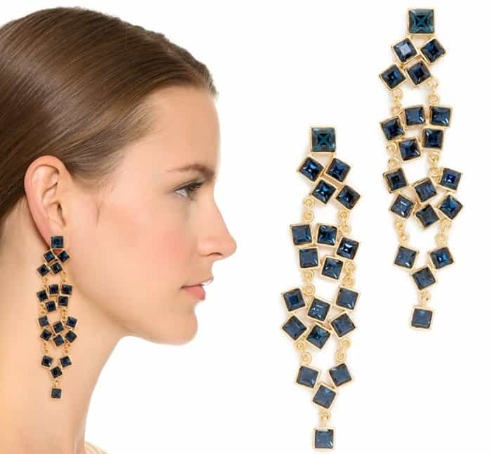 Kenneth Jay Lane Square Cluster Drop Earrings