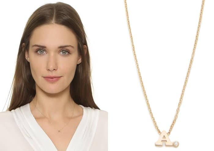 Zoe Chicco Initial Diamond Necklace