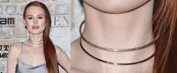Madelaine Petsch Pairs Minimalist Rose Gold Jewelry with Slinky Slip Dress
