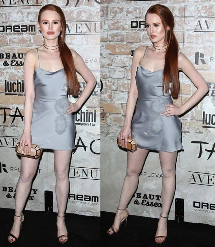 Madelaine Petsch paraded her legs at the TAO, Beauty and Essex, Avenue and Luchini LA Grand Opening