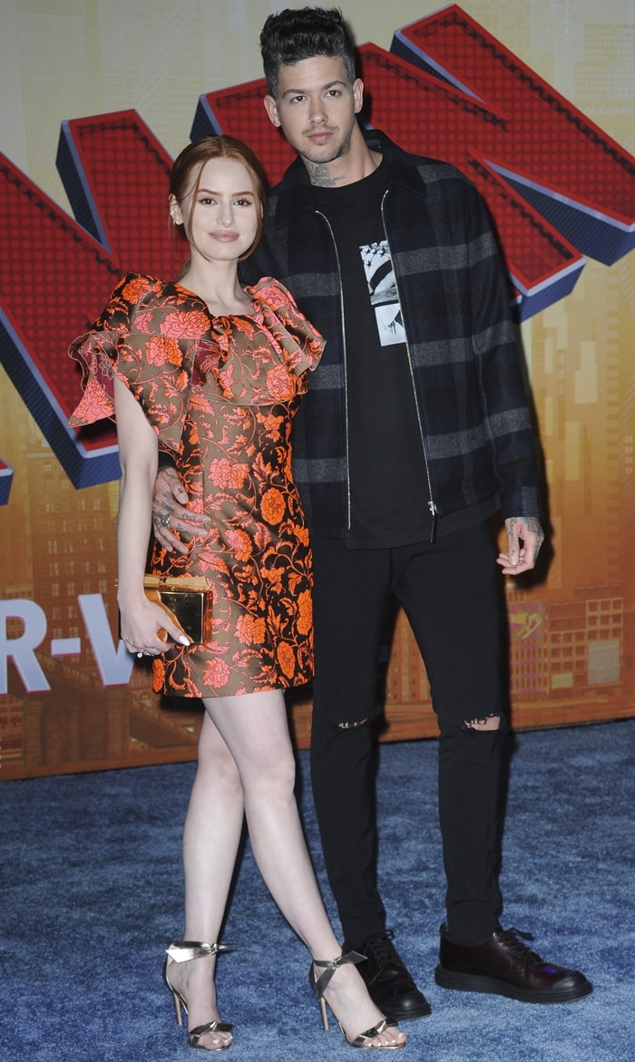 Madelaine Petsch and her boyfriend Travis Mills at the Spider-Man: Into The Spider-Verse premiere
