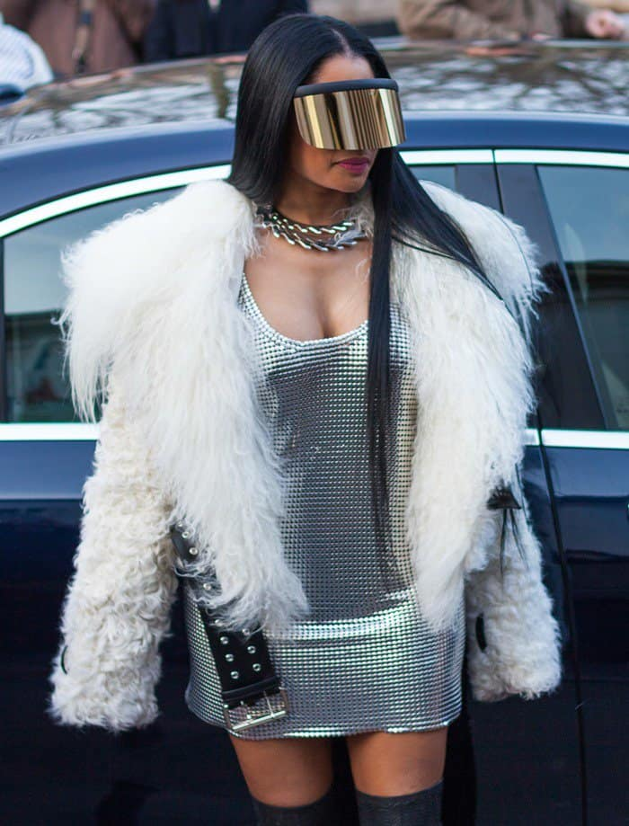 Nicki Minaj at the Paris Fashion Week Womenswear Fall/Winter show.