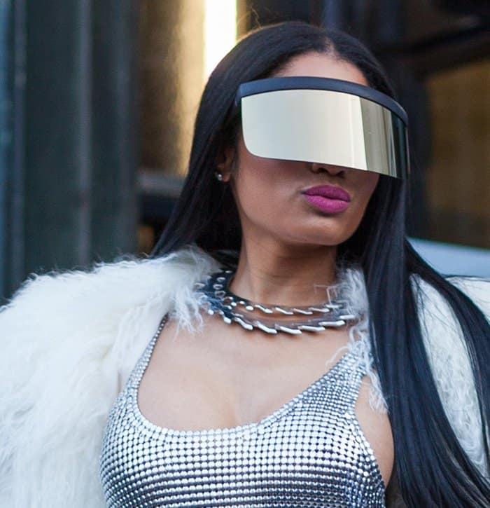 Nicki Minaj at the Paris Fashion Week Womenswear Fall/Winter show.