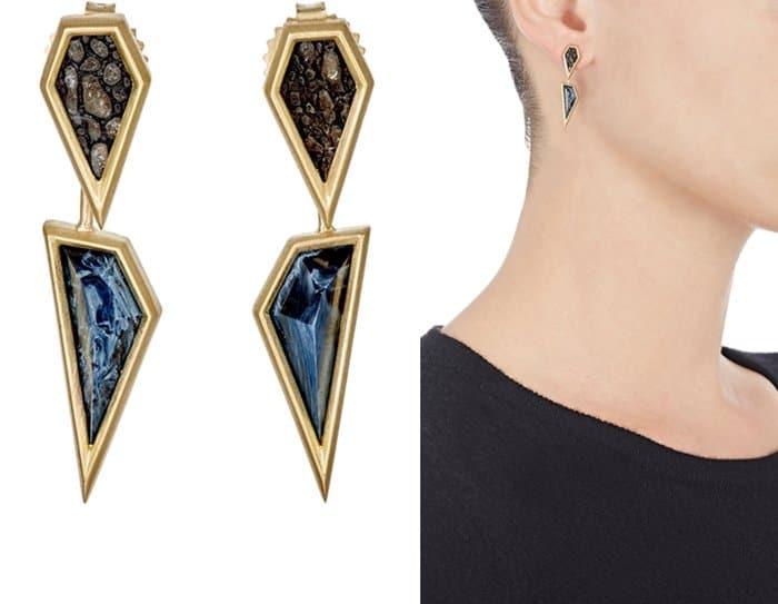 Monique Péan Fossilized Dinosaur Bone & Pietersite Drop Earrings
