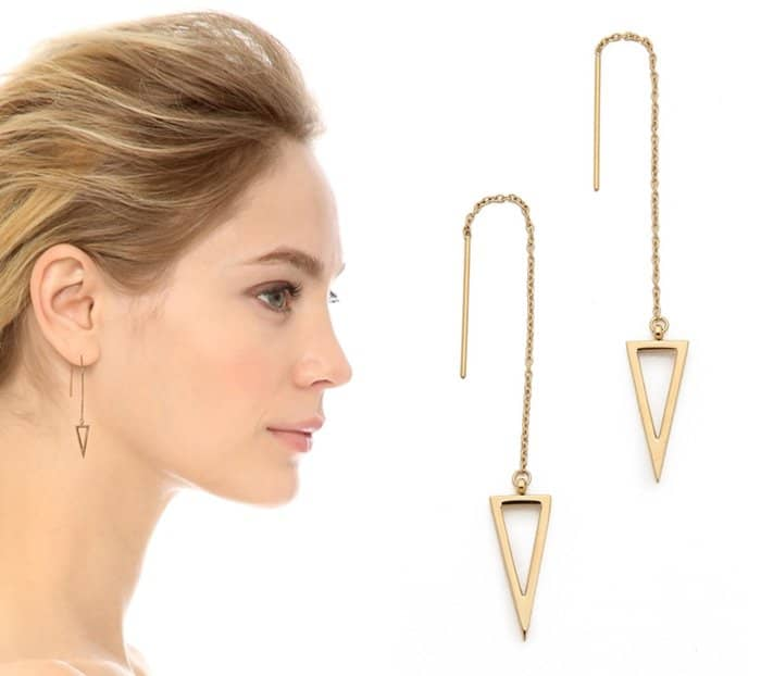Rebecca Minkoff long triangle frame threader earrings