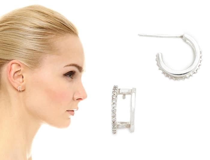 Tai Double Hoop Pave Earrings