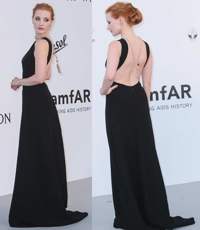 Jessica Chastain wore a long, black Prada gown that featured a low back style