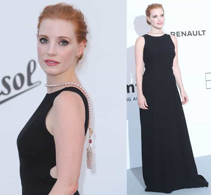 Jessica Chastain at the 24th annual amfAR fundraiser during the Cannes Film Festival at the Hotel Eden Roc in France