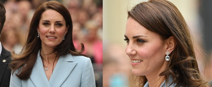 Kate Middleton Visits Luxembourg in Blue Topaz and Blue Diamond Earrings