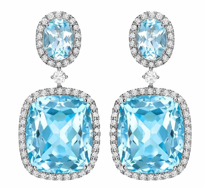 Kiki McDonough blue topaz and diamond drop earrings