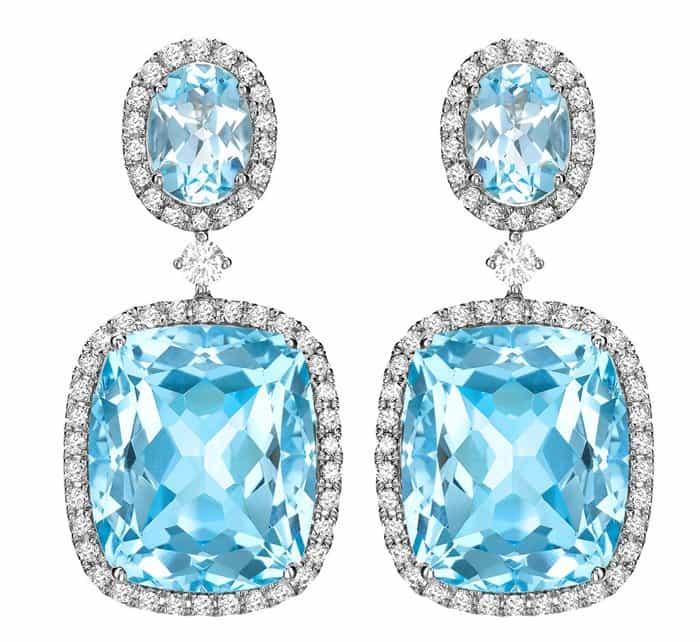 Kiki McDonough blue topaz and diamond drop earrings