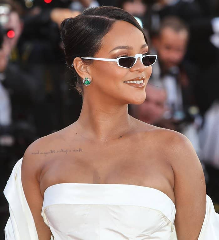 Rihanna wearing futuristic Andy Wolf glasses