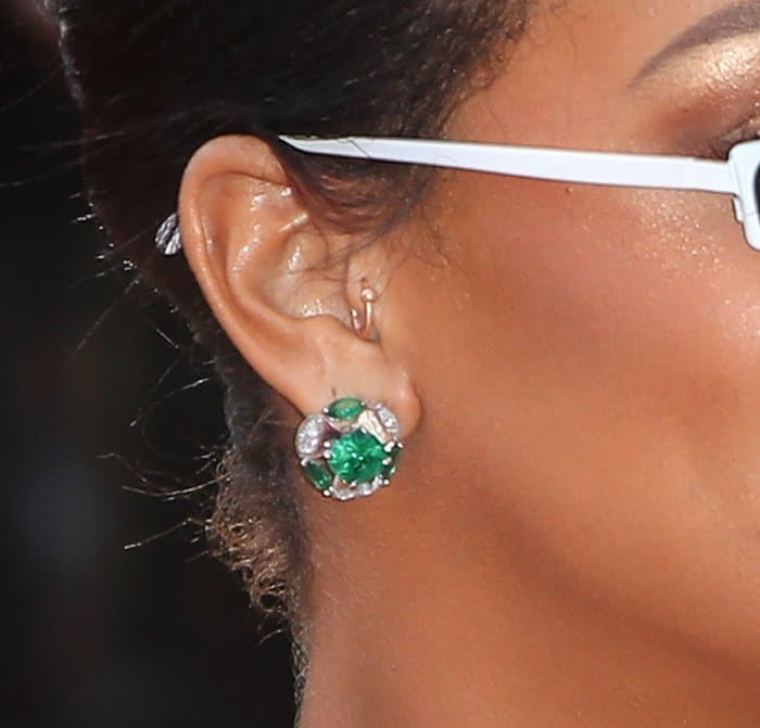 Rihanna's statement earrings from her own Rihanna Loves Chopard collection