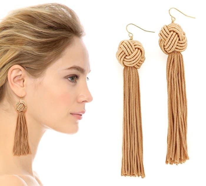 Vanessa Mooney The Astrid knotted tassel earrings in tan