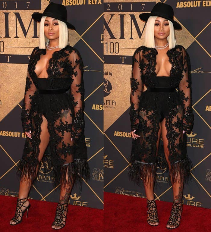 Blac Chyna wore a striking lace ensemble at The 2017 MAXIM Hot 100 Party in Hollywood.