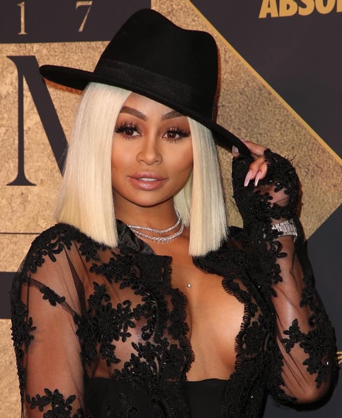 Blac Chyna was noticeably wearing a diamond stud on her dermal anchor piercing.