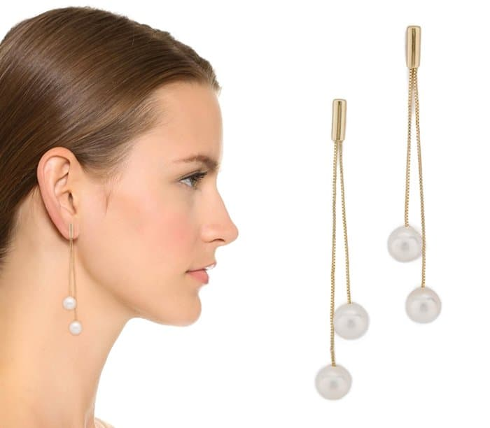 Kenneth Jay Lane Imitation Pearl Dangling Earrings