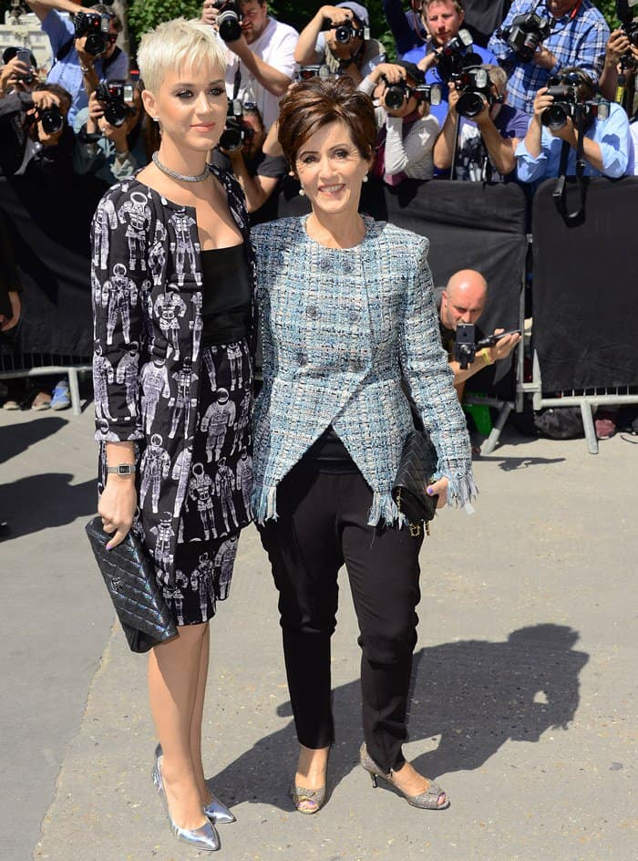 Katy Perry with mom Mary Perry at the Chanel fashion show during Paris Fashion Week.