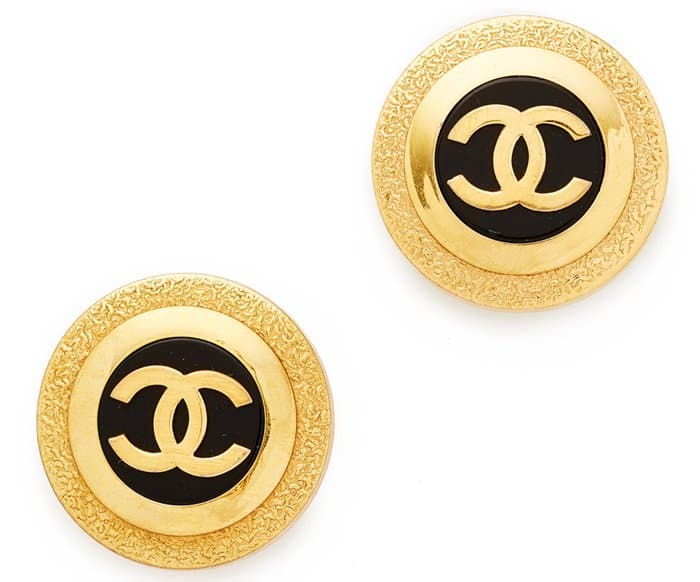 What Goes Around Comes Around Chanel CC Button earrings