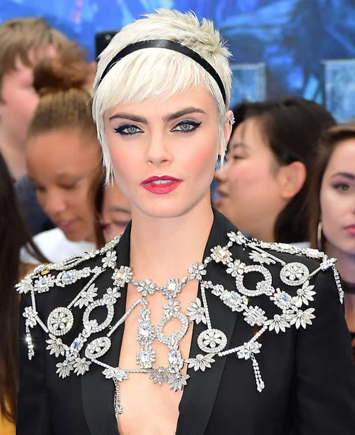 Cara amped up the glam with a statement jewelry at the premiere of Valerian.