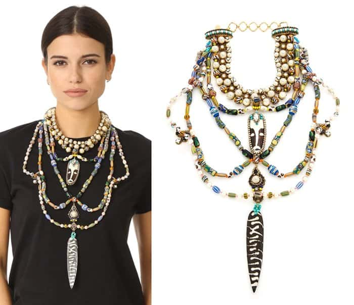 Erickson Beamon Imitation Pearl Safari Bib Necklace