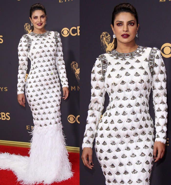 Priyanka Chopra attends the 69th Emmy Awards held at the Microsoft Theatre in Los Angeles on September 17, 2017