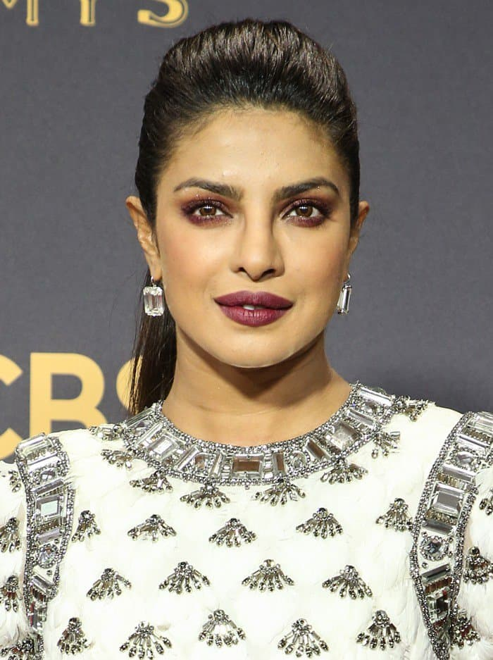 Priyanka amped up the glam with a bedazzled gown and Lorraine Schwartz diamond accessories