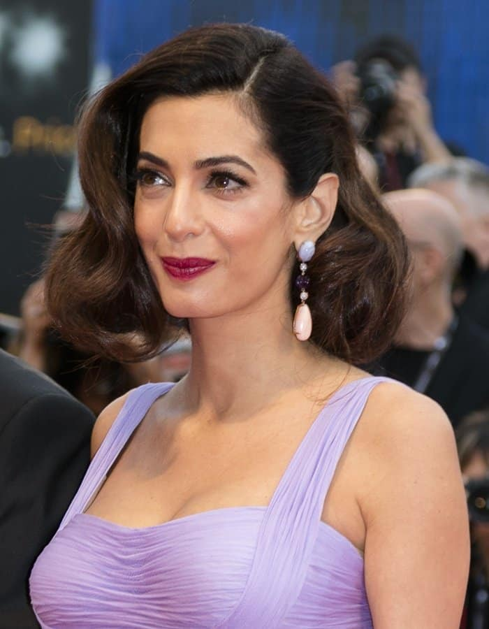 Amal Clooney wearing gorgeous Lorraine Schwartz earrings at the Suburbicon premiere in Venice.
