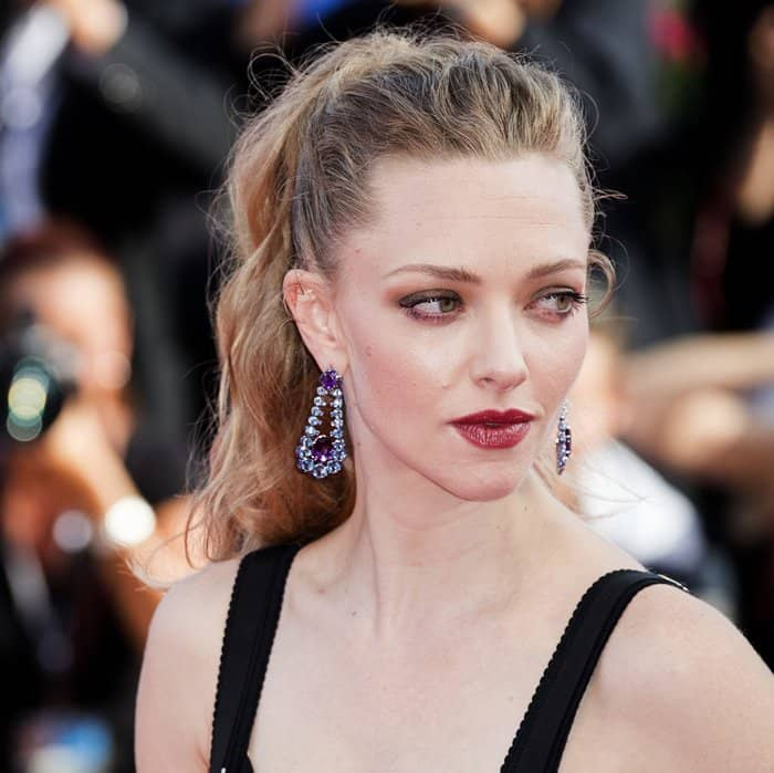 Amanda Seyfried wearing Chopard earrings at the Venice Film Festival.