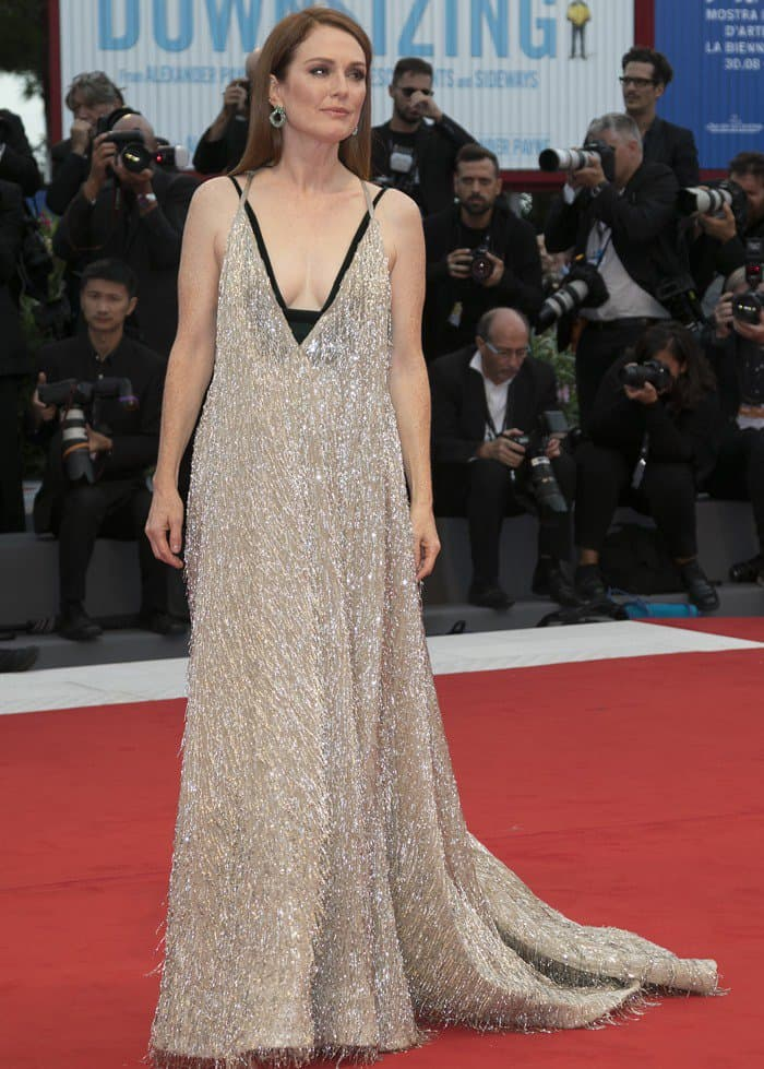 Julianne Moore wears Valentino Couture at the premiere of 'Downsizing' in Venice.