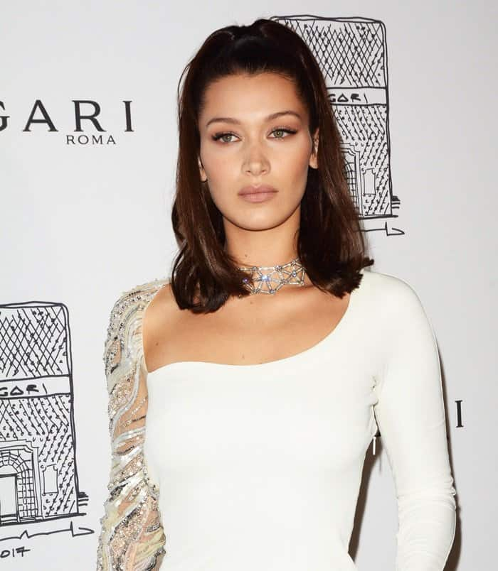 Bella Hadid attends the NY store opening of Bvlgari.
