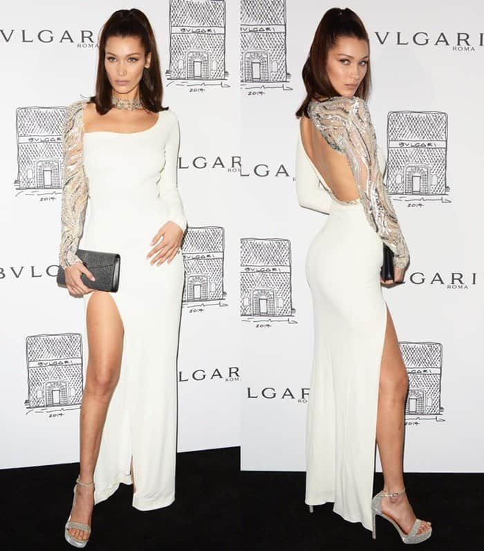 Bella Hadid wears a Roberto Cavalli gown for Bvlgari's store opening in New York.