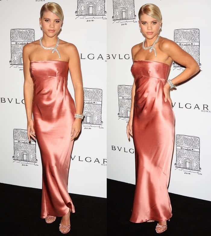 Sofia Richie wears a silk dress at Bvlgari's NY Flagship Store Opening.