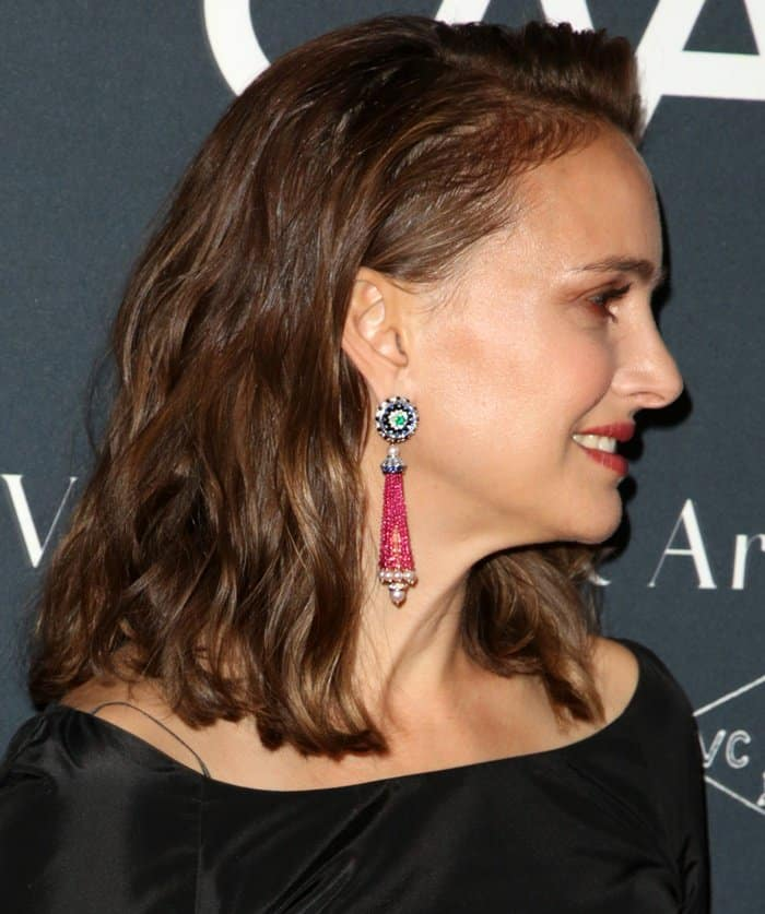 Natalie Portman wearing beaded earrings at the L.A. Dance Project Gala.