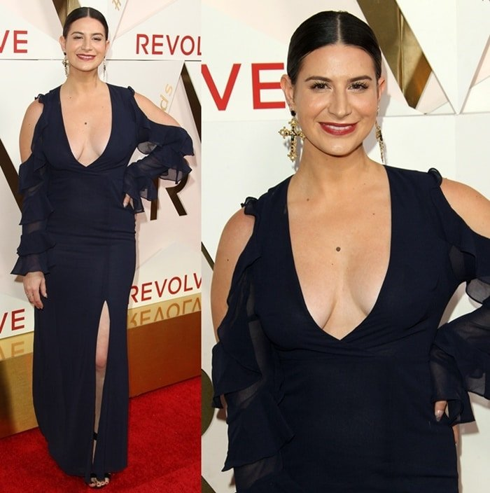 Rachel Zeilic wearing a black gown at the REVOLVE Awards.