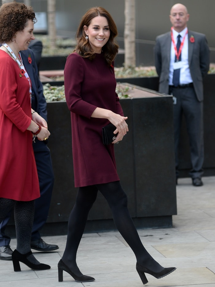 Kate Middleton wearing a shift dress during Place2Be's School Leaders Forum.