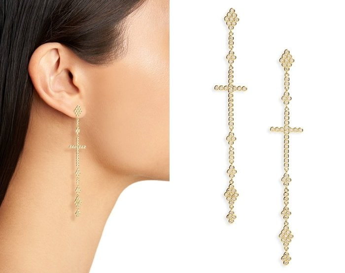 Melinda Maria Linear Cross Earrings