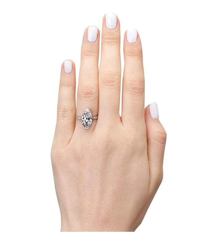 The vintage-inspired Meissa engagement ring, which features a 3.25-carat moval cut diamond, can be customized with your choice of carat size and metal band