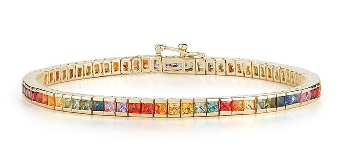 Princess cut vibrant rainbow sapphires set in 14kt yellow gold bracelet