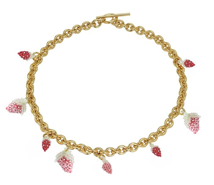 Gold-plated silver-chain necklace with strawberry-shaped glass beads