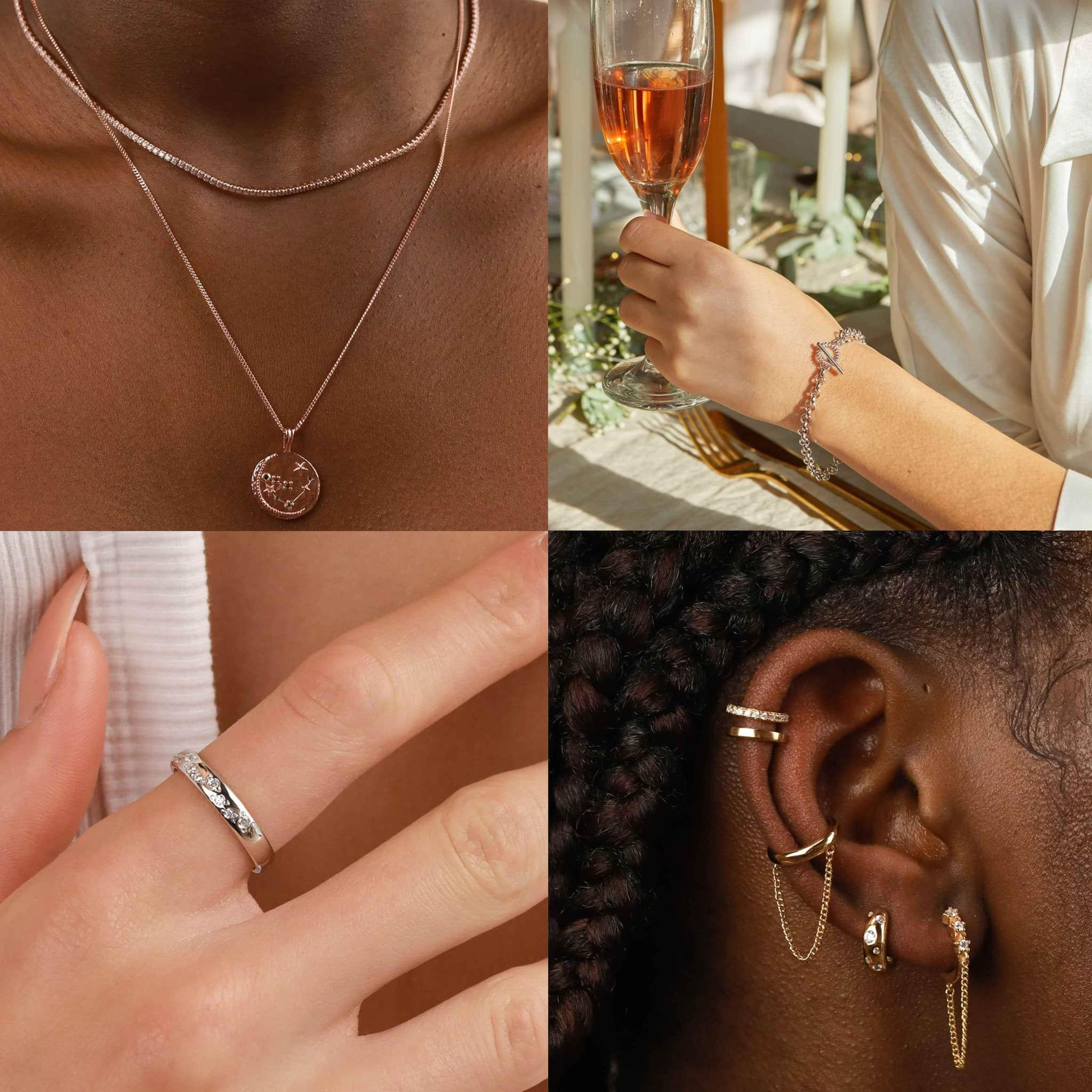 Astrid & Miyu Zodiac Capricorn Pendant Necklace in Rose Gold, $124; Astrid & Miyu Wreath T-Bar Chunky Bracelet in Silver, $77; Astrid & Miyu Gleam Ring in Silver, $77; Astrid & Miyu Twilight Chain Huggies in Gold, $77